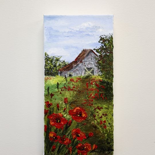 Barn with Poppies Painting