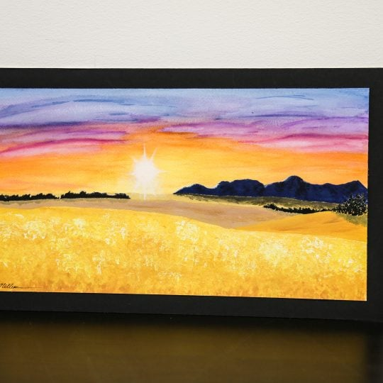 Wheat Farm at Sunset Painting